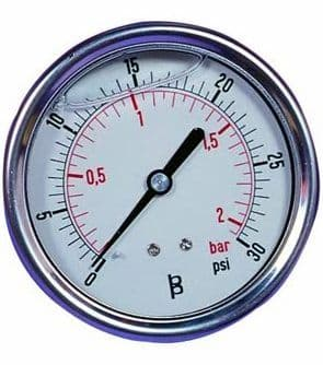Back Entry Deluxe Glycerine Filled Pressure Gauge