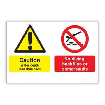 No Diving Safety Sign - Shallow Water, No Diving, No Backflips or Somersaults (450x300)