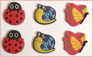 6 x Ladybird Butterfly Snail Charms