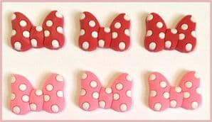 6 x Spotty Bow Charms