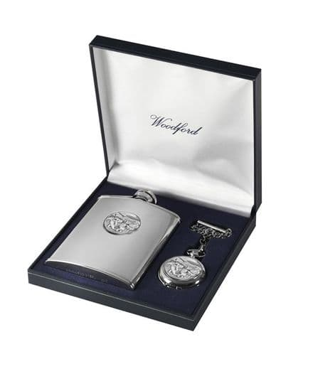 'Horse Racing' Hip Flask and Pocket Watch Set