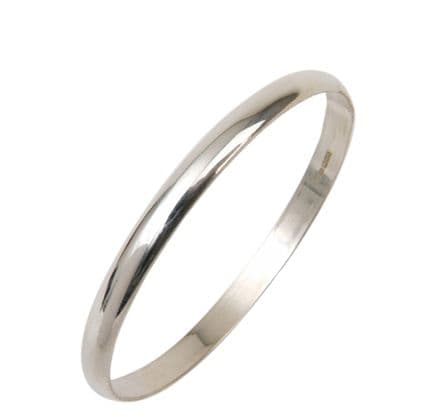 6MM D - Shaped Slave Silver Bangle - Teenage to Adult Sizes
