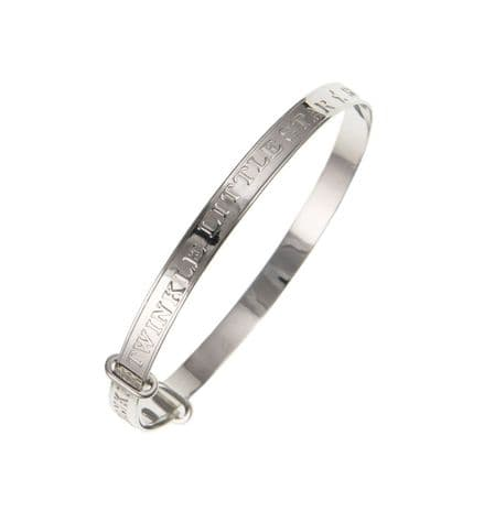 Large Child's Silver 'Twinkle Twinkle' Expanding Bangle