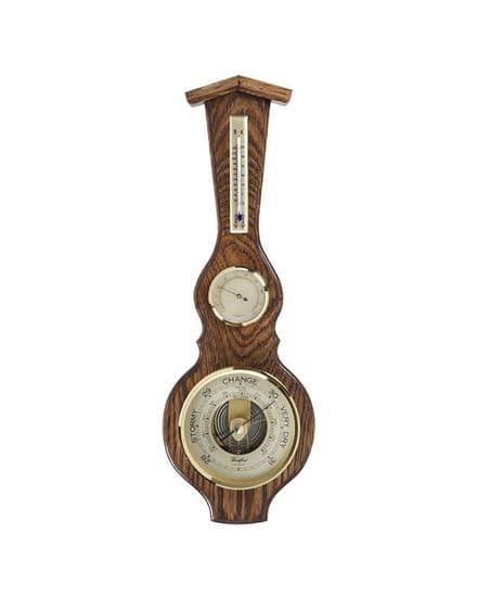 Long Solid Oak Barometer with Thermometer