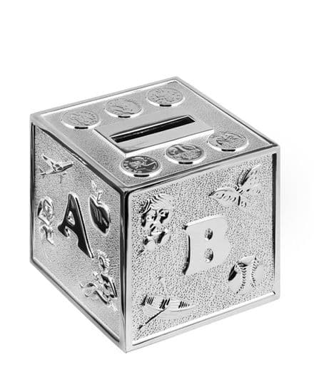 Silver Plated 'ABC Cube' Money Box