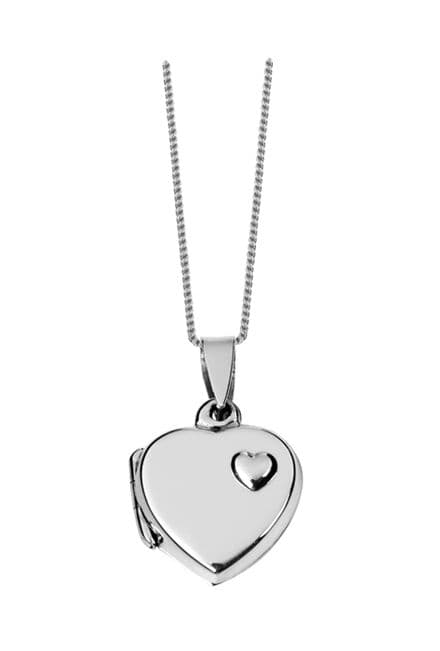 Sterling Silver Heart Shaped Locket with Heart Design