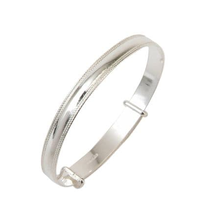 Sterling Silver Narrow Bead Christening Bangle - Baby to Child sizes