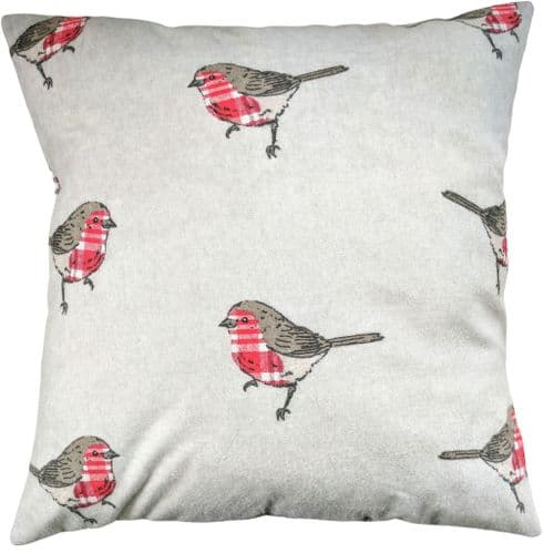 """16"""" Brushed Cotton Robin Cushion Cover"""