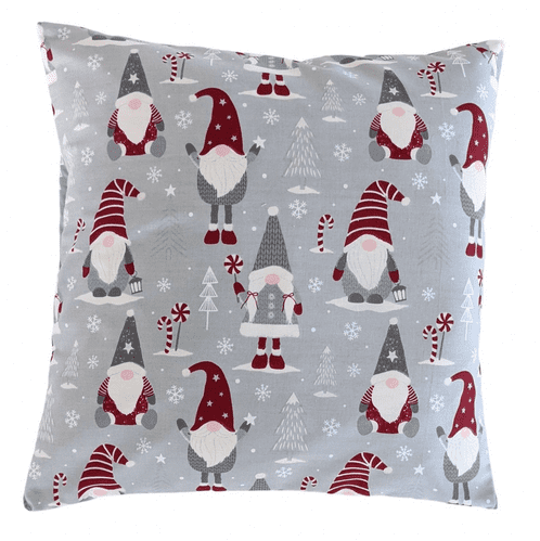 """16"""" Christmas Grey Red White Gonk Gnome Cushion Cover"""