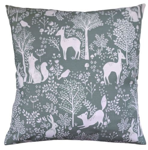 "16"" Cushion Cover in Green Woodland Animals"