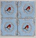 4 Ceramic Coasters in Emma Bridgewater Christmas Wreath