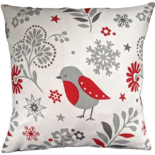 Christmas Robin and Star Cushion Cover 16""