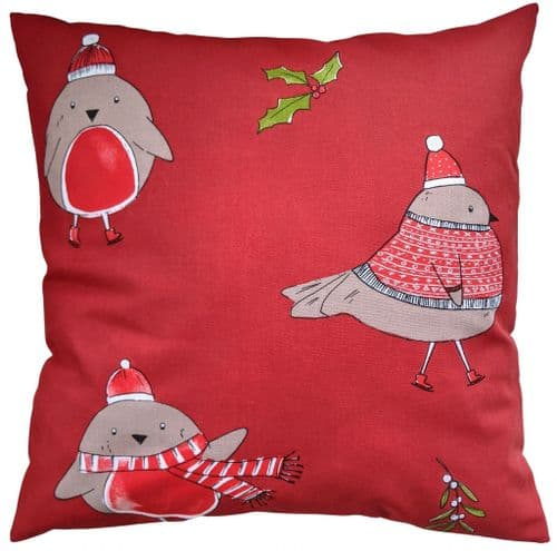 Cushion Cover in Catherine Lansfield Red Robin 16""