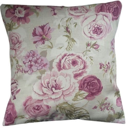"""Cushion Cover in Clarke and Clarke Genevieve Roses Purple 14"""" 16"""" 18"""" 20"""" 22"""" 24"""" 26"""""""