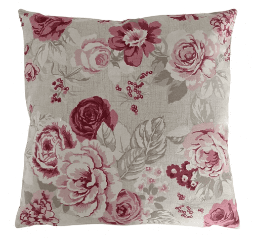 Cushion Cover in Clarke and Clarke Genevieve Roses Raspberry Red 14