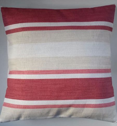 "Cushion Cover in Laura Ashley Awning Stripe Cranberry Red 14"" 16"" 18"" 20"""