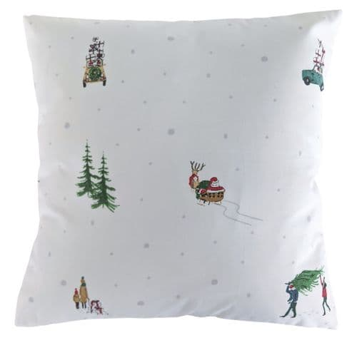 Cushion Cover in Sophie Allport Home For Christmas White 16""