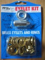 """12.7mm (1/2"""") Brass Eyelets with Punch and Die (Pack of 15 eyelets)"""