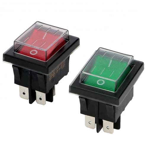 Red or Green Rocker Switch With Waterproof Cap , 20a 125vac, 16a 250vac ENEC