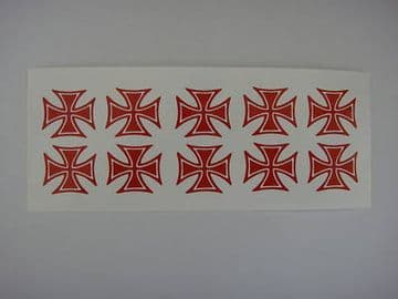 10x mini IRON CROSS red novelty stickers.For low Dub,Rat/ Hot Rod.car,van Bumper