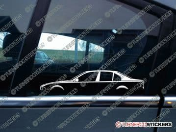 2x Car Silhouette sticker - BMW e39 5-series sedan / saloon (1995-2003) 530d, 525i, 520i, 530i