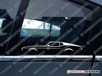 2x Car Silhouette sticker - Ford Mustang Fastback sportroof 1971-1973 classic muscle car