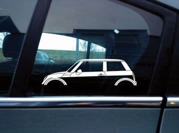 2x car silhouette stickers - for BMW Mini Cooper / One R50 (2000-2006) S166