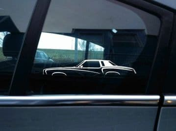2X Car silhouette stickers - for Chevrolet Monte Carlo 2nd gen 1973-77 |   Classic