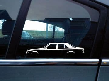 2x car silhouette stickers - for Mercedes W124 E-Class 4-door saloon / sedan | classic