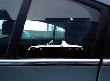 2x car silhouette stickers - for Porsche 914 (top off) classic sports car S155