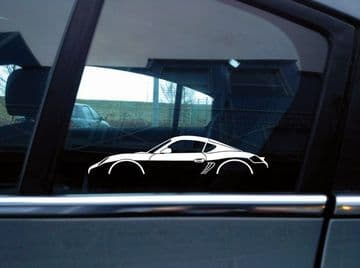 2x car silhouette stickers - for Porsche Cayman Coupe (987) | sports car S133