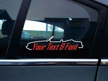 2x Custom YOUR TEXT car stickers - for Ford Mustang Fox Body convertible  1987-1993