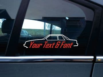 2x Custom YOUR TEXT car stickers - for Ford Mustang Fox Body notchback 1987-1993