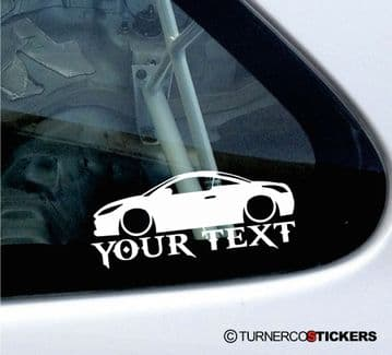 2x Custom YOUR TEXT Lowered car stickers - Peugeot RCZ coupe