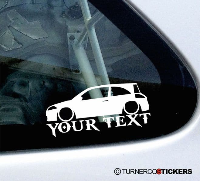 2x Custom YOUR TEXT Lowered car stickers - Renault Megane 16v (Mk2) Renault Sport RS