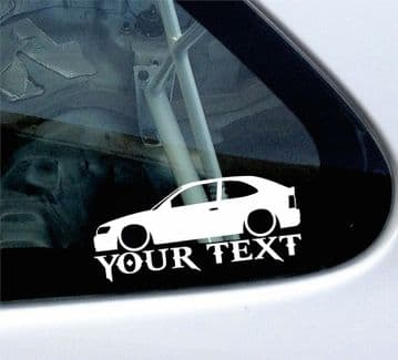 2x Custom YOUR TEXT Lowered car stickers - Toyota Corolla AE100 hatchback' 3-Dr