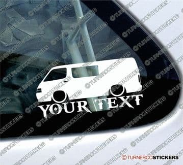 2x Custom YOUR TEXT Lowered car stickers - Toyota HiAce h100 van with side window