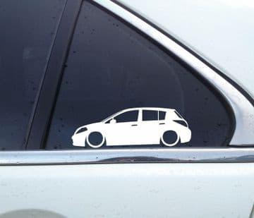 2X Low car outline stickers - for Nissan Versa / Tiida (c11; 2008-2012) L1566