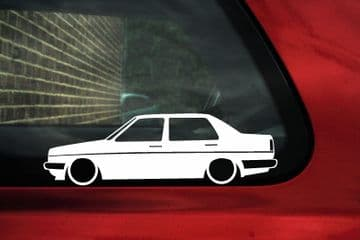 2x Low car outline stickers - for Volkswagen Jetta Mk2 classic VW