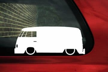 2x Low car outline stickers - for Volkswagen T1 Transporter Panel Van Split splitty vintage vw