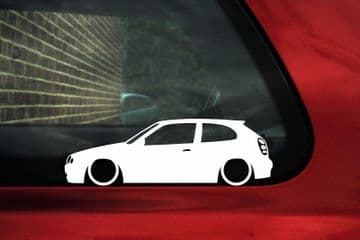 2x Low car outline stickers - Toyota Corolla G6 E11 hatch 3-dr
