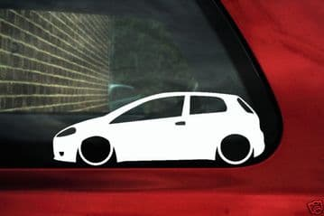 2x LOW Fiat Grande Punto Abarth /JTD outline car bumper stickers, Decals