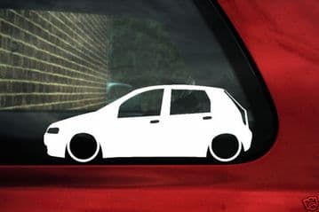 2x LOW Fiat Punto Mk2 (5 door) 16v, JTD ,outline,silhouette car Bumper / window stickers / Decals