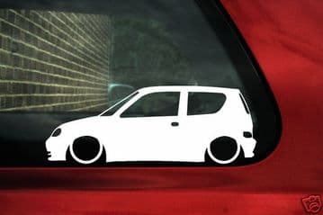 2x LOW Fiat Seicento Silhouette, outline stickers, Decals for Seicento 0.9 , 1.1 (1)