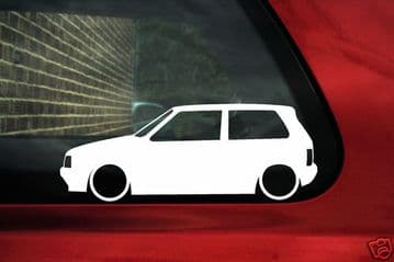 2x LOW Fiat Uno Turbo Silhouette, outline stickers,Decals