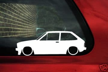 2x LOW Ford Fiesta Mk1 XR2 outline Silhouette stickers, Decals