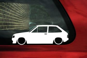 2x LOW Ford Fiesta Mk2 XR2i outline, silhouette stickers , Decals