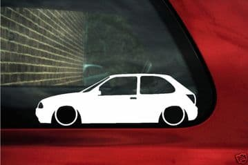 2x LOW Ford Fiesta Mk4, 3 door Ghia,zetec SE outline stickers / silhouette Decals