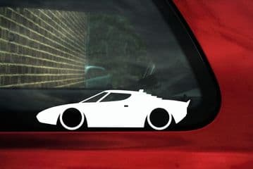 2x LOW Lancia Stratos Classic Car outline stickers