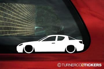 2x LOW, lowered Mazda Rx8 Silhouette outline stickers, Decals for 1st gen RX-8